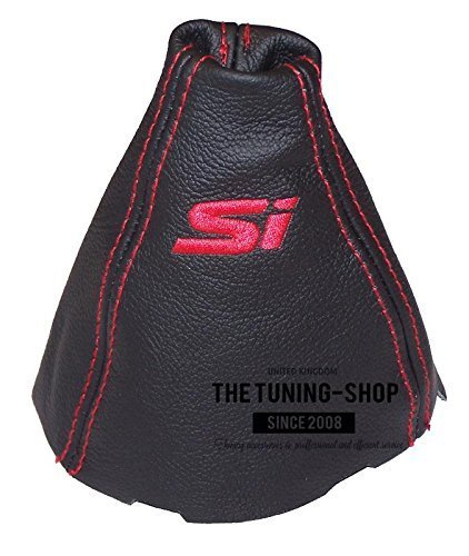The Tuning-Shop Ltd Fits Honda Civic Si 06-11 Sedan Coupe Fa Acura Csx Black Leather Shift Boot Shift Boot Custom Embroidery Si Red Stitching (Shift Knob Leather Boot)