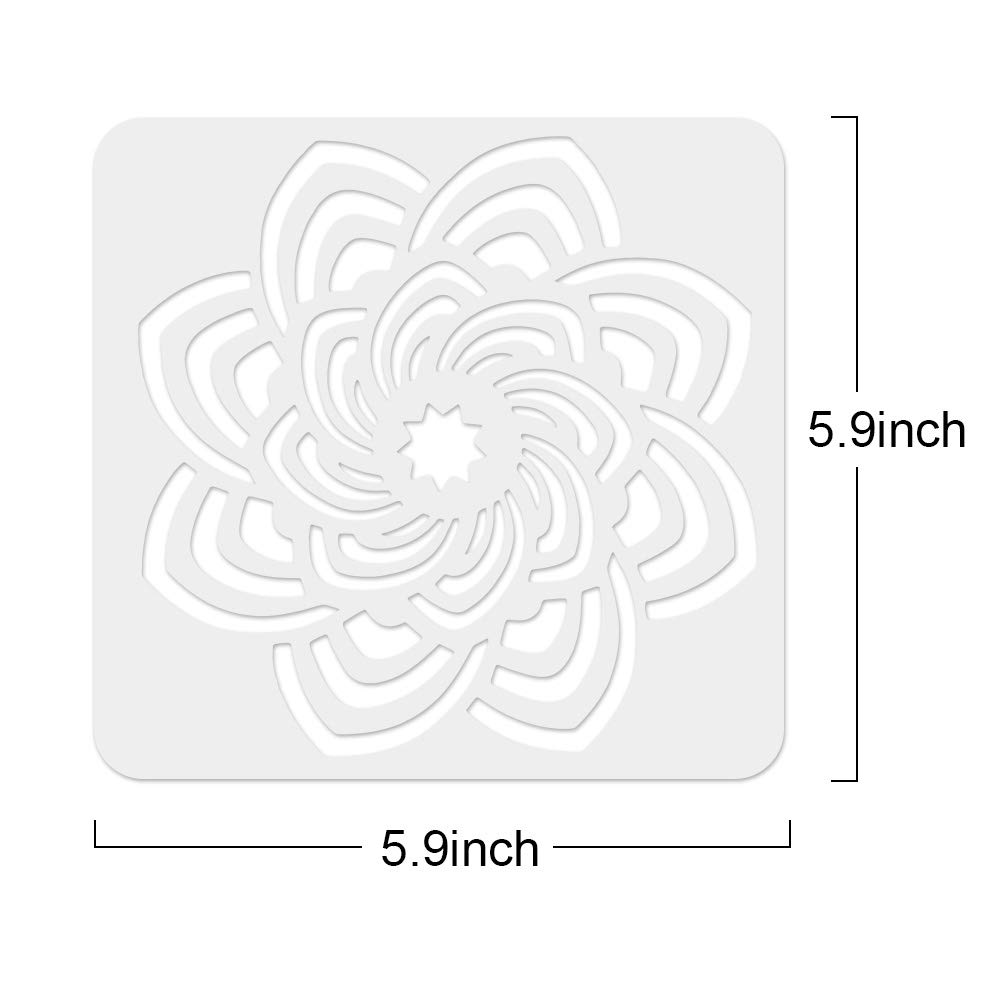Jekkis 25 Pack Mandala Painting Stencil Drawing on Wood Tile Fabric Reusable Plastic Art Craft Template for DIY Craft Supplies