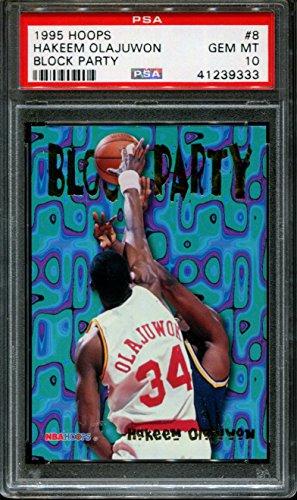 1995 HOOPS BLOCK PARTY #8 HAKEEM OLAJUWON HOF POP 2 PSA 10 K2599274-333