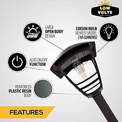 LowVoltz Solar 4 Pack Bright (10 Lumen) Solar Edison Bulb LED Path Lights. Outdoor Solar Pathway Lights Garden, Yard Walkway. Modern Design, Solar Path Landscape Lighting, Longest Lasting Charge