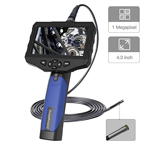 (Industrial Endoscope Inspection Camera-ScopeAround Waterproof Digital Borescope, 5.5mm 3 Meter Inspection Snake Camera with 4.3 inch Color LCD Screen and Adjustable LED Lights, 2600mAh Battery )