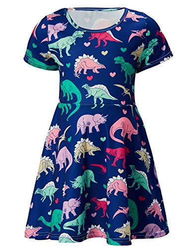 ALISISTER 2T Dinosaur Dress Girl Unique Princess Twirl Dresses 90S Kids Birthday Toddler Sundress Party Outfits Short Sleeve Summer Apparel -