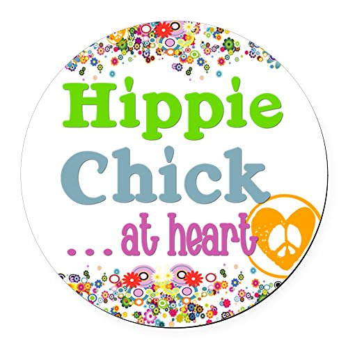 CafePress - Pillow-Hippie-Chick Round Car Magnet - Round Car Magnet, Magnetic Bumper Sticker