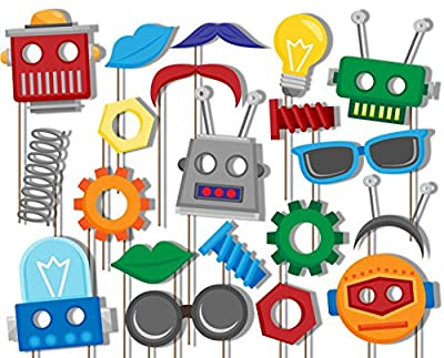 Robot Photo Booth Props Kit - 20 Pack Party Camera Props Fully Assembled