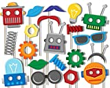 Birthday Galore Robot Photo Booth Props Kit - 20 Pack Party Camera Props Fully Assembled