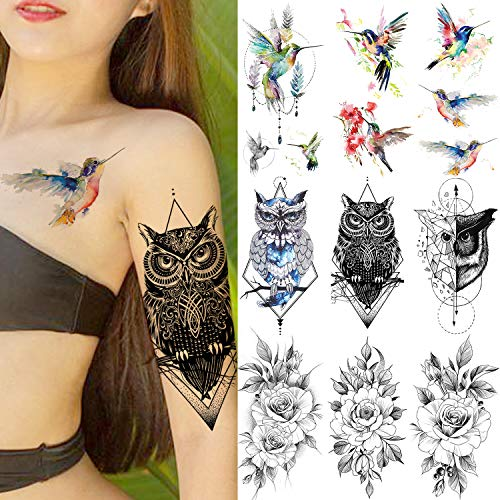 VANTATY 9 Sheets Watercolor Hummingbird Fake Temporary Tattoos For Women Girls Hummer Birds Geometric Owl Waterproof Tattoo Stickers Black Rose Flower Tatoos Peony Girls Geometry Body Arm Art (The Best Female Tattoos)