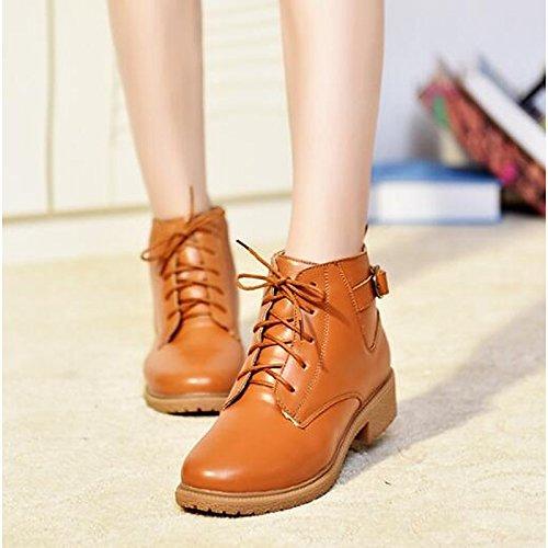 ZHZNVX HSXZ Zapatos de Mujer Otoño Invierno auténtico cuero botas de combate pelusas revestimiento plano puntiagudo botas botas Mid-Calf Toe for casual Negro Marrón Brown