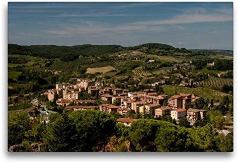 Premium Tessile Della Tela 45Cm X 30Cm Croce Sognante Villaggi–Toscana, 75X50 Cm