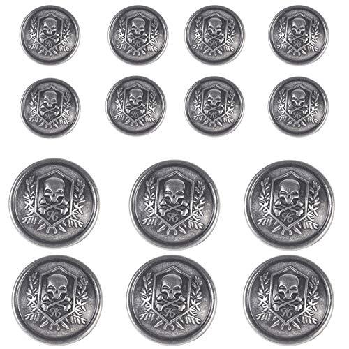 14 Pieces Silver Vintage Metal Blazer Button Set - Skull - for Blazer, Suits, Sport Coat, Uniform, Jacket