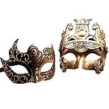 #10: Gold / Black Glitter Women Mask & Gold Roman Warrior Men Mask Venetian Couple Masks For Masquerade / Party / Ball Prom / Mardi Gras / Wedding / Wall Decoration