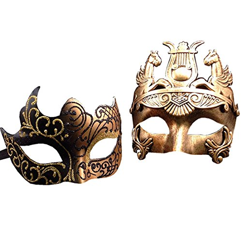 Warrior Mask (Gold / Black Glitter Women Mask & Gold Roman Warrior Men Mask Venetian Couple Masks For Masquerade / Party / Ball Prom / Mardi Gras / Wedding / Wall Decoration)