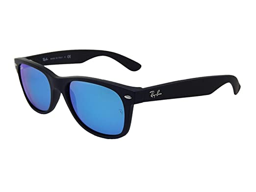 8c91e1c68a Image Unavailable. Image not available for. Color  Ray-Ban New Wayfarer RB  2132 622 17 55mm Rubber Black   Blue Mirror