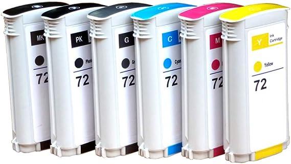 GYBN Cartucho de Impresora de protección Ambiental con Chip, para Cartuchos HP 72, Plotter Ancho T1100 T790 T610 T795 T770 T620 T1200 T1120 T2300 T1708 Cartuchos de impresora-6-set: Amazon.es: Electrónica