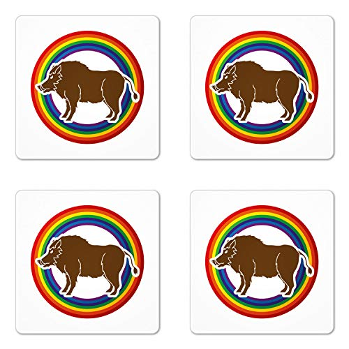 Ambesonne Razorback Coaster Set of 4, Digitally Generated Wild Hog Boar Standing in Round Frame with Rainbow Colors, Square Hardboard Gloss Coasters for Drinks, Multicolor