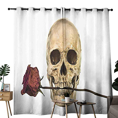 duommhome Gothic Decor Collection Bathroom Curtain Skull with Dry Red Rose in Teeth Anatomy Death Eye Socket Jawbone Halloween Art Energy Saving Provides a Modern Look W72 xL62 Ivory White -