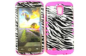 SHOCKPROOF HYBRID CELL PHONE COVER PROTECTOR FACEPLATE HARD CASE AND HOT PINK SKIN WITH STYLUS PEN. KOOL KASE ROCKER FOR SAMSUNG GALAXY S IV S4 ACTIVE I9252 ZEBRA MA-TP206-S