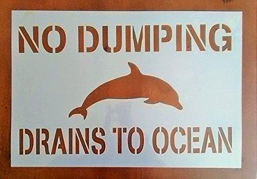 No Dumping Drains to Ocean Stencil (10 Pack)