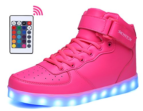 Adult Light Up Shoes (MOHEM ShinyNight High Top LED Shoes Light Up USB Charging Flashing Sneakers(1687003Shining40))