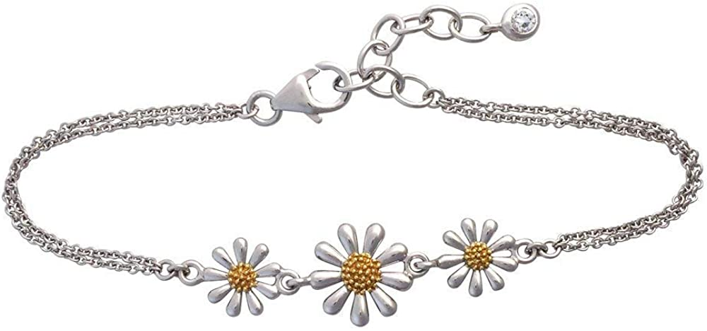 """Paul Wright 925 Sterling Silver Daisy Bracelet, Three Daisies with 18ct Gold Plated Centres, Double Chain, 6.5"""" Plus 1"""" Extender"""