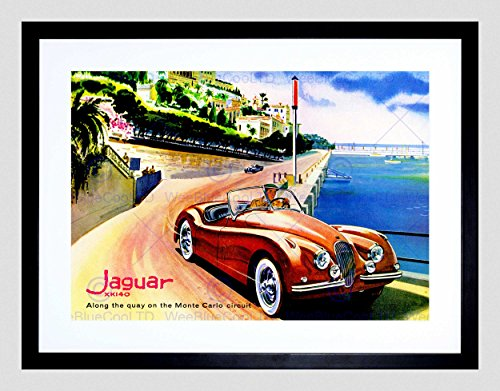 VINTAGE JAGUAR MONTE CARLO CIRCUIT CAR AUTOMOBILE FRAMED ART PRINT B12X11882