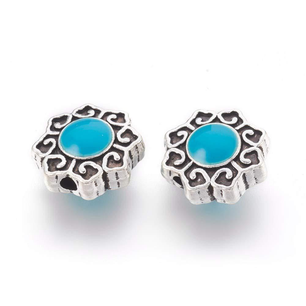 10pcs Unique Colorful Brass Enamel Metal Beads Round Hollow Blue Spacer 15mm DIA