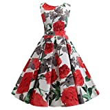 Answerl⍣ Womens Boatneck Sleeveless Vintage Tea Dress Blet Butterfly Floral Print Zipper Up A Line Dress