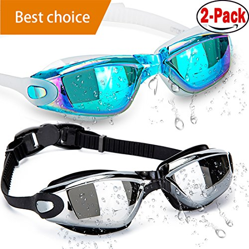 HOOLRO Swim Goggles, Pack of 2, Swimming Goggles,Swim Goggles for Adult Men Women Youth Kids Child, Anti Fog UV Protection Lenses By
