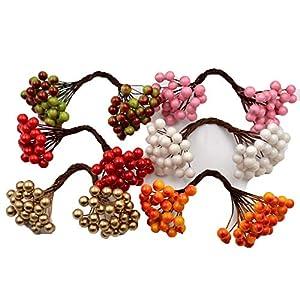 Miao Express 25pcs 50heads Artificial Flower Mini Berry Bacca Bouquet for Wedding Decoration DIY Scrapbooking Decorative Wreath Fake Flowers 41