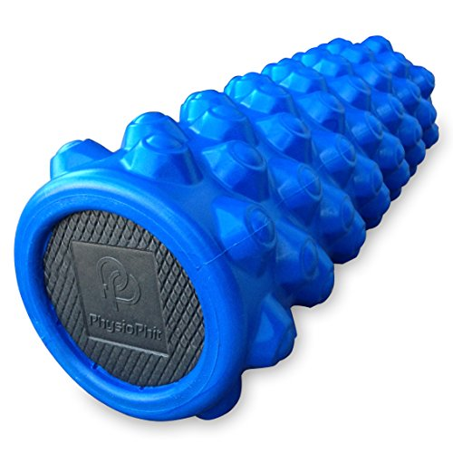 Rough Roller (PhysioPhit Muscle Foam Roller - High Density, Trigger Point Grid Provides Maximum Pain Relief, Fastest Workout Recovery & Deep Massage for Sore Muscles, Extra Firm & Textured with Carrier Bag, Blue)