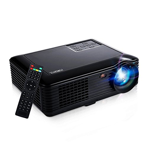 HD Video Projector,Joyhero 4000 Lumens HDMI Max 200'' Big Screen LCD LED Projector For Home Back Yard Movie, Party, Games, Office Business Presentation -Black by Joyhero