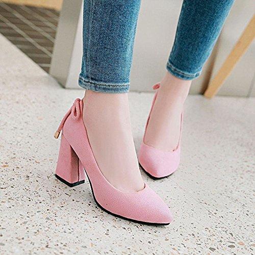 Block Shoes Pink Heel Women's Slip Mee Court On Sweet Shoes q86tZt