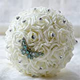 USIX Handmade Romantic Artificial Rose Bridal Holding Wedding Bouquet, Brooch Bouquet, Throw Bouquet, Crystal and Lace Decorated Bouquet, Wedding Flower Arrangements Bridesmaid Bouquet (Ivory)