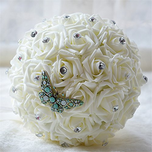 KUKI SHOP Handmade Creative PE Roses Butterfly Dragonfly Wedding Bouquet Bridal Holding Bouquet Bridal Throw Bouquet Bridesmaid Bouquet Wedding Decora…