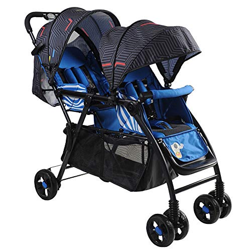 Double Stroller Convenience Urban Twin Carriage Stroller Tandem Collapsible Stroller All Terrain Double Pushchair for Toddler Girls and Boys Stable Stroller Frame with Bag Blue
