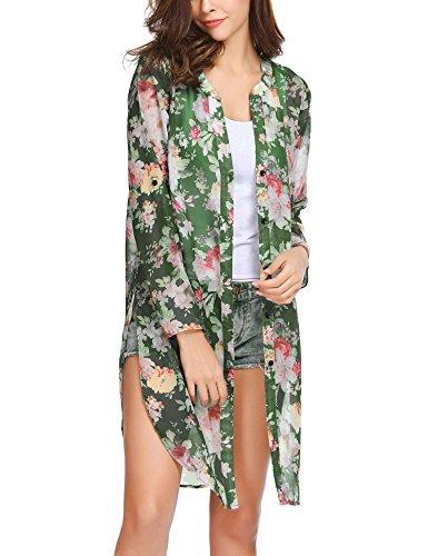 Pinspark Women's Floral Kimono Loose Half Sleeve Chiffon Casual Cardigan (PAT1 L)