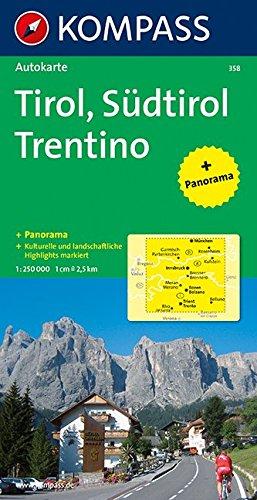 Tirol / Südtirol / Trentino 1 : 250 000. Autokarte mit Panorama.
