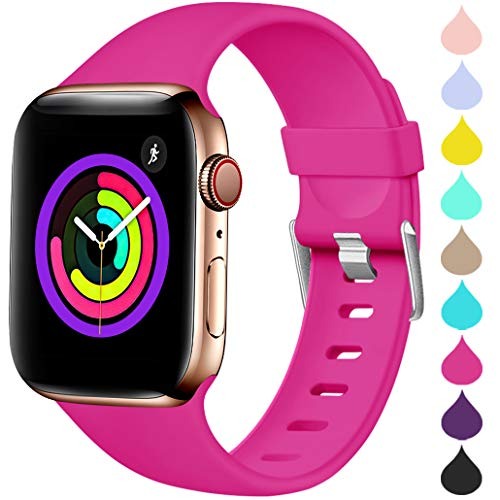 Haveda Sport Band Compatible for Apple Watch 38mm 40mm, Waterproof TPU Bands Wristband for iWatch, Apple Watch Series 4, Series 3, Series 2, Series 1 Women Men, Rose 38mm/40mm M/L