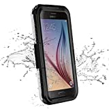Galaxy S6 Waterproof Case, iThrough Waterproof Case, Dust,Snow,Shock Proof Case with Silicone Membrane Screen Protector, Protective Carrying Cover Case for Galaxy S6, Galaxy S6 Edge (Black)