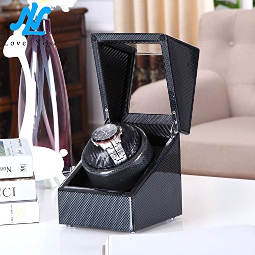 [Carbon New Style] Love Nest Carbon Fiber Wood Single Automatic Watch Winder Box Piano Finish Japanese Mabuchi Motor(power included) by LN LOVE NEST (Image #1)