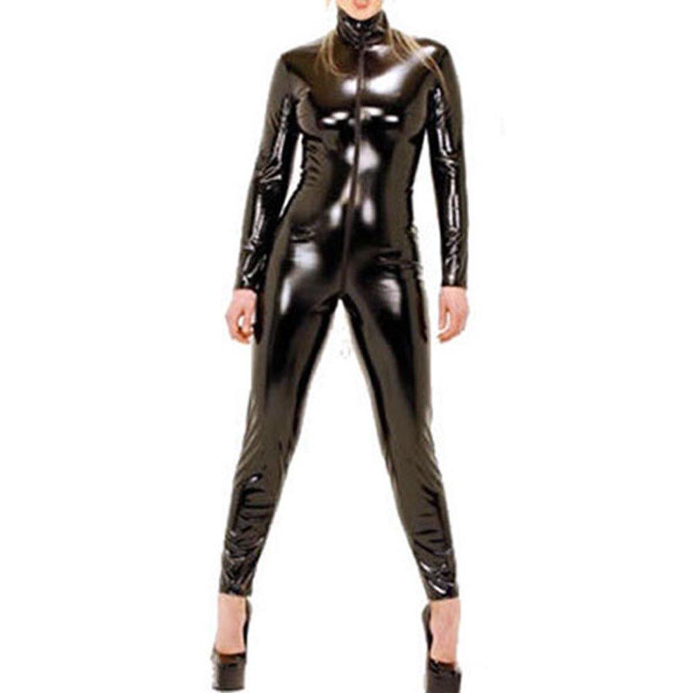 Red Dot Boutique 9066 - Spandex Wetlook Bodysuit Catsuit Jumpsuit Costume Black