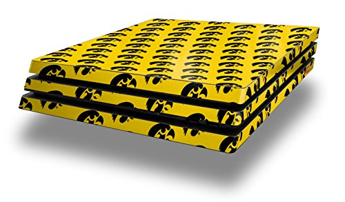 PS4 Pro Skin Wrap Iowa Hawkeyes Tigerhawk Tiled 06 Black on Gold - Decal Style Skin fits Sony PlayStation 4 Pro Console