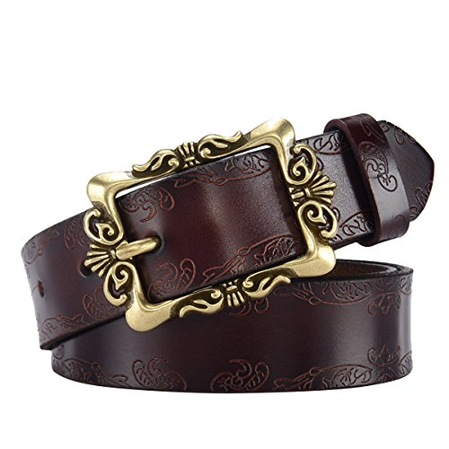 Herebuy - Vintage Leather Cowgirl Belt for Jeans - Ladies Western Accessories