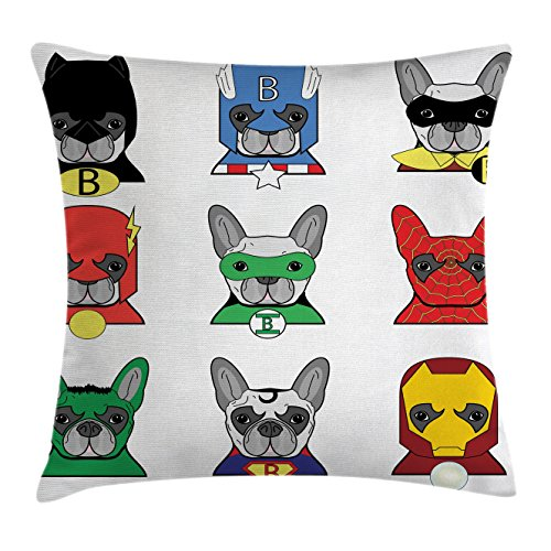 Superhero Throw Pillow Cushion Cover by Ambesonne, Bulldog Superheroes Fun Cartoon Puppies in Disguise Costume Dogs with Masks Print, Decorative Square Accent Pillow Case, 20 X 20 Inches, Multicolor