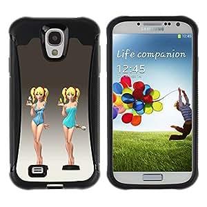 Suave TPU GEL Carcasa Funda Silicona Blando Estuche Caso de protección (para) Samsung Galaxy S4 IV I9500 / CECELL Phone case / / cute cocktail waitress swimsuit chick girl /