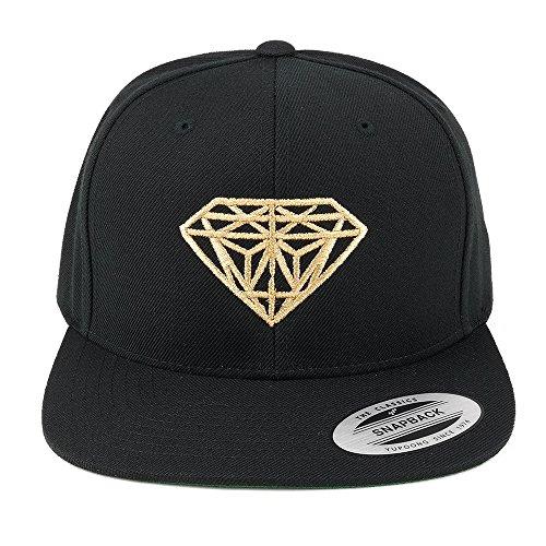 FLEXFIT Diamond Embroidered Flat Bill Snapback Cap – Black with Metallic Gold Thread