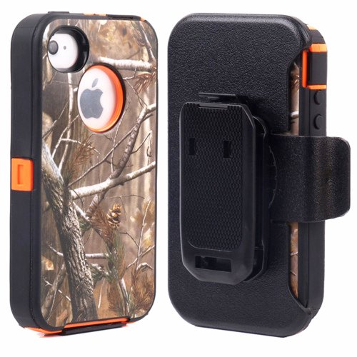 Huaxia Datacom Heavy Duty Defender Hybrid Hard Case with Holster and Belt Clip for iPhone 4/4S - Camouflage on Orange (Iphone 4 Case With Clip compare prices)