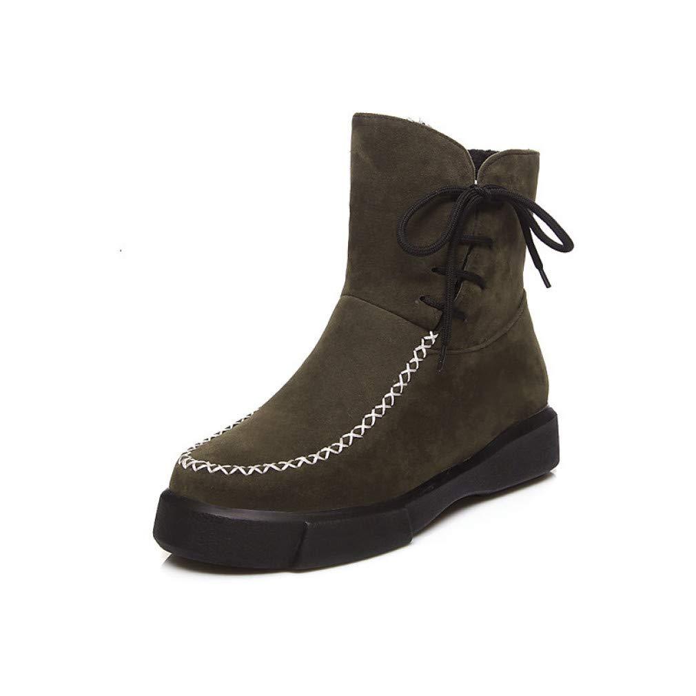 SchuheHAOGE Damen Comfort Schuhe Wildleder Herbst & Winter Casual Stiefel Creepers Runde Zehe Stiefel Schwarz/Armee-Grün/Mandel