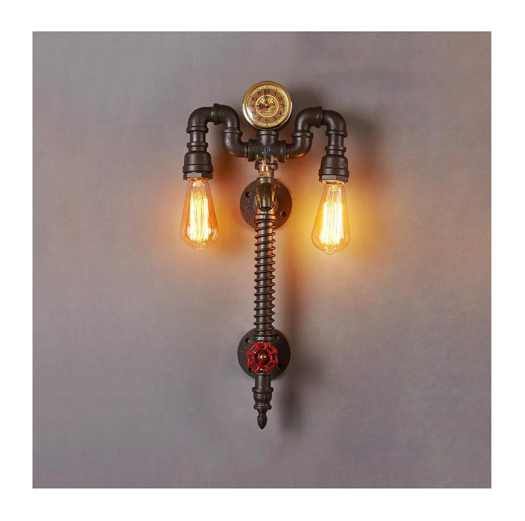 屋内用壁面ライト ウォールランプE27鍛造鉄水パイプスケジュールリビングルームバーカフェウォールライト [エネルギーレベルA ++]   B07RPB8FNS