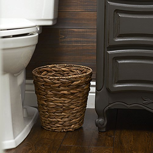 Household Essentials Ml 6692 Woven Water Hyacinth Wicker Waste Basket For Bathrooms Bedrooms