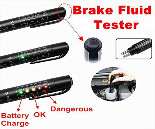 BADASS SHARKS Brake Fluid Tester Auto Brakes Calibrated For DOT3 DOT4 with 5 LED Indicator by BADASS SHARKS
